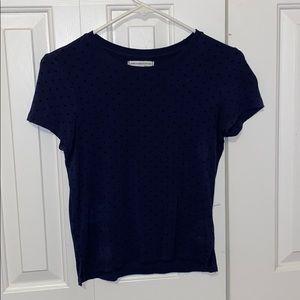 navy blue with black polka dots short sleeve shirt